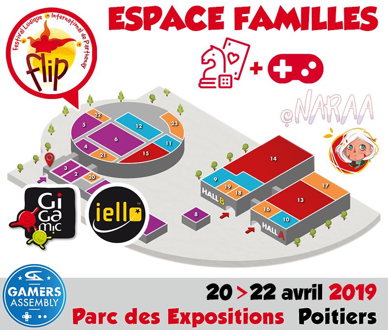 Le Festival des Jeux de Parthenay et les créateurs indépendants du jeux-vidéo Naraa, vainqueurs du concours Trophées FLIP 2018, feront découvrir une sélection FLIP de jeux de société Iello et Gigamic au public de la Gamers Assembly de Poitiers